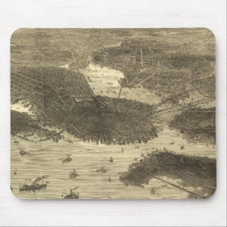 Vintage Pictorial Map of Boston (1870) Mouse Pad