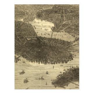 Vintage Pictorial Map of Boston (1870) Postcard