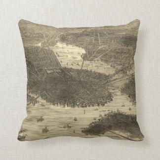 Vintage Pictorial Map of Boston (1870) Throw Pillow