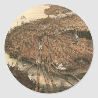 Vintage Pictorial Map of Boston (1877) Classic Round Sticker