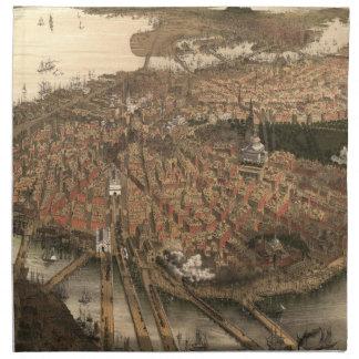Vintage Pictorial Map of Boston (1877) Cloth Napkin