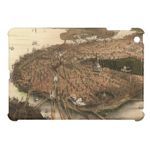Vintage Pictorial Map of Boston (1877) Cover For The iPad Mini