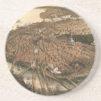 Vintage Pictorial Map of Boston (1877) Drink Coaster