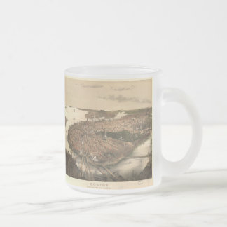 Vintage Pictorial Map of Boston (1877) Frosted Glass Coffee Mug
