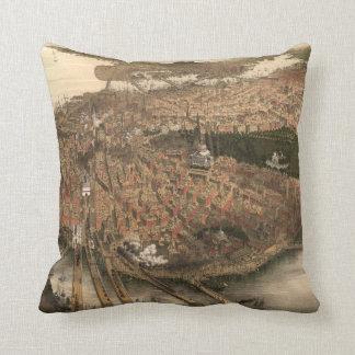 Vintage Pictorial Map of Boston (1877) Throw Pillows