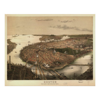 Vintage Pictorial Map of Boston (1877) Poster