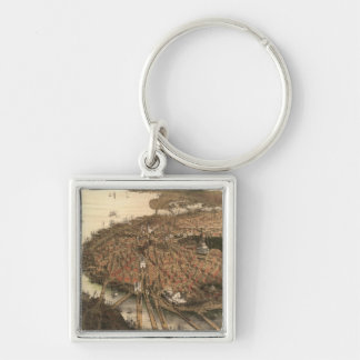 Vintage Pictorial Map of Boston (1877) Silver-Colored Square Keychain