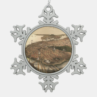 Vintage Pictorial Map of Boston (1877) Snowflake Pewter Christmas Ornament