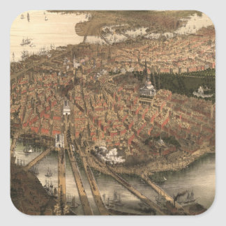 Vintage Pictorial Map of Boston (1877) Square Sticker
