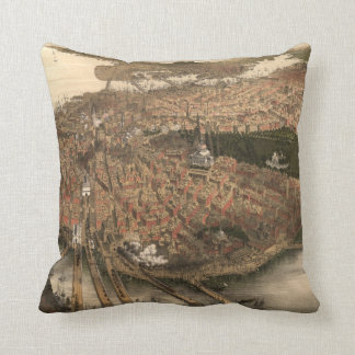 Vintage Pictorial Map of Boston (1877) Throw Pillow
