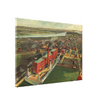 Vintage Pictorial map of Boston (1902) Gallery Wrap Canvas