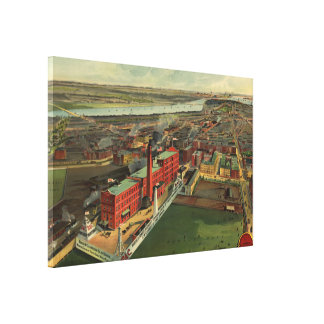 Vintage Pictorial map of Boston (1902) Canvas Print