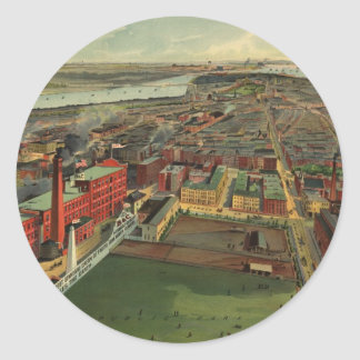 Vintage Pictorial map of Boston (1902) Classic Round Sticker