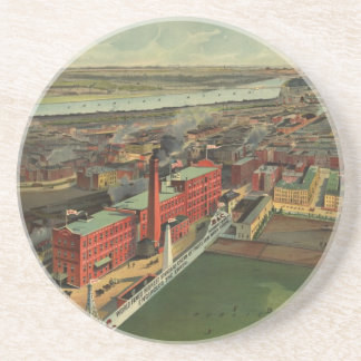 Vintage Pictorial map of Boston (1902) Drink Coaster