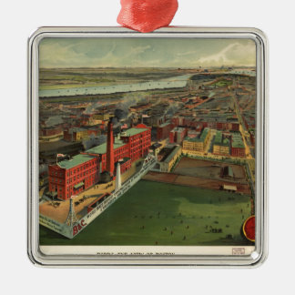 Vintage Pictorial map of Boston (1902) Metal Ornament