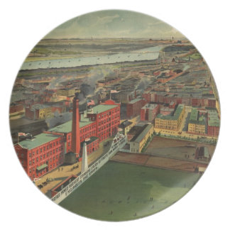Vintage Pictorial map of Boston (1902) Party Plate