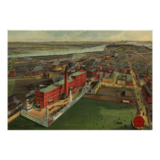 Vintage Pictorial map of Boston (1902) Poster