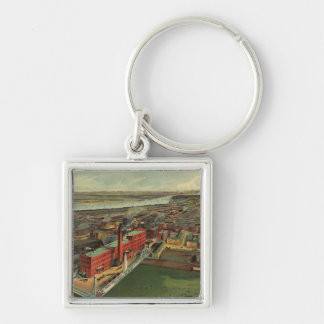 Vintage Pictorial map of Boston (1902) Silver-Colored Square Keychain
