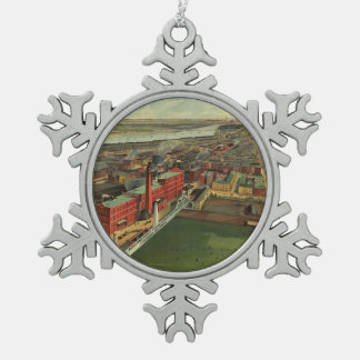 Vintage Pictorial map of Boston (1902) Snowflake Pewter Christmas Ornament