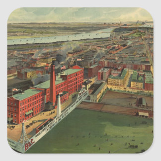 Vintage Pictorial map of Boston (1902) Square Sticker