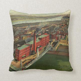 Vintage Pictorial map of Boston (1902) Throw Pillow