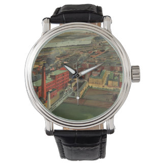 Vintage Pictorial map of Boston (1902) Wristwatch