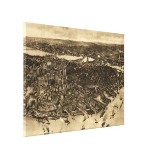 Vintage Pictorial Map of Boston (1905) (2) Canvas Print