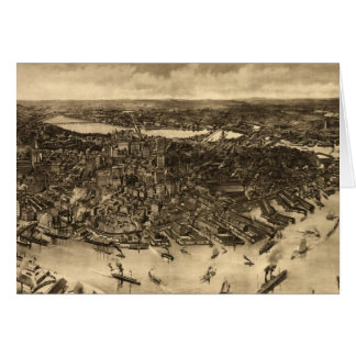 Vintage Pictorial Map of Boston (1905) (2) Card