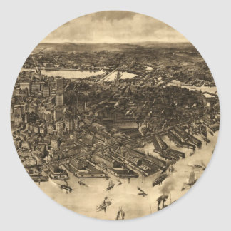 Vintage Pictorial Map of Boston (1905) (2) Classic Round Sticker