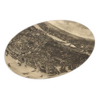 Vintage Pictorial Map of Boston (1905) (2) Melamine Plate