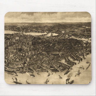 Vintage Pictorial Map of Boston (1905) (2) Mouse Pad