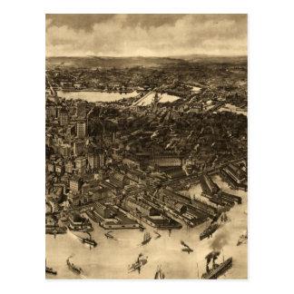 Vintage Pictorial Map of Boston (1905) (2) Postcard