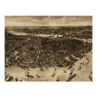 Vintage Pictorial Map of Boston (1905) (2) Poster