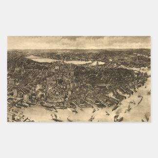 Vintage Pictorial Map of Boston (1905) (2) Rectangular Sticker