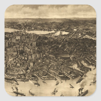 Vintage Pictorial Map of Boston (1905) (2) Sticker