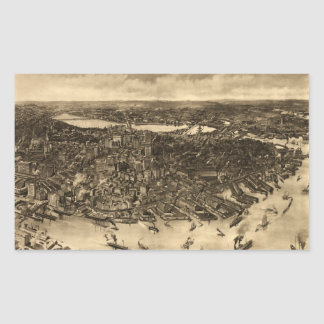 Vintage Pictorial Map of Boston (1905) (2) Rectangular Stickers