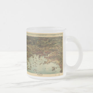 Vintage Pictorial Map of Boston (1905) 10 Oz Frosted Glass Coffee Mug