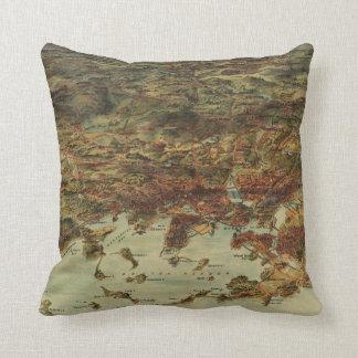 Vintage Pictorial Map of Boston (1905) Throw Pillow