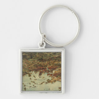 Vintage Pictorial Map of Boston (1905) Silver-Colored Square Keychain
