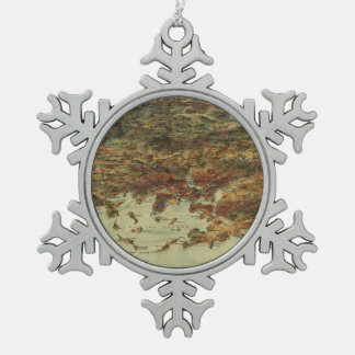 Vintage Pictorial Map of Boston (1905) Snowflake Pewter Christmas Ornament