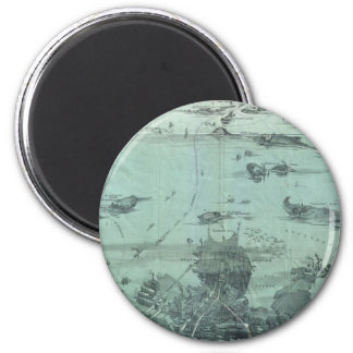 Vintage Pictorial Map of Boston Harbor (1897) 2 Inch Round Magnet