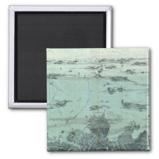 Vintage Pictorial Map of Boston Harbor (1897) 2 Inch Square Magnet