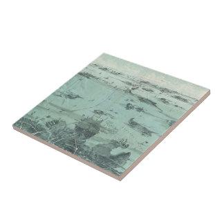 Vintage Pictorial Map of Boston Harbor (1897) Ceramic Tile