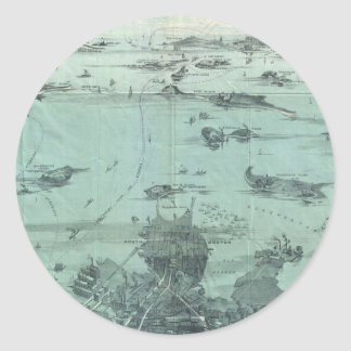 Vintage Pictorial Map of Boston Harbor (1897) Classic Round Sticker
