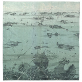 Vintage Pictorial Map of Boston Harbor (1897) Cloth Napkin