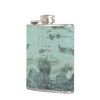 Vintage Pictorial Map of Boston Harbor (1897) Hip Flask