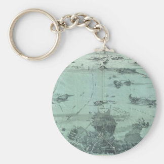 Vintage Pictorial Map of Boston Harbor (1897) Keychain