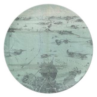 Vintage Pictorial Map of Boston Harbor (1897) Melamine Plate