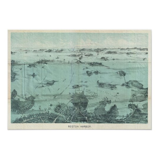 Vintage Pictorial Map of Boston Harbor (1897) Poster