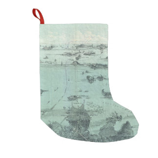 Vintage Pictorial Map of Boston Harbor (1897) Small Christmas Stocking